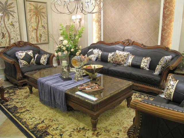 奥克维尔 g17沙发 现代美式家具 沙发组合套装1 2 3 真皮沙发 蓝色图片